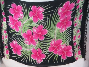 hibiscus pink flower green leaf on black sarong women's resort wear fashion dresses