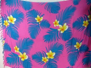 yellow plumier flower blue leaf pink sarong