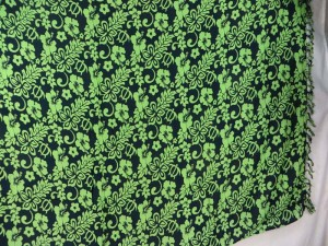 boho flower green black sarong