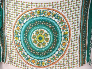 teal circle flower mandala green on white sarong with teal green edge
