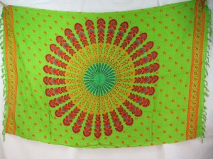 orange red peacock feather mandala green sarong