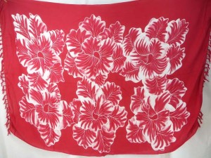 large flower red sarong