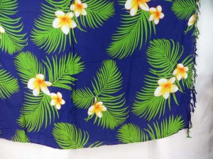 plumier flower green leaf blue sarong