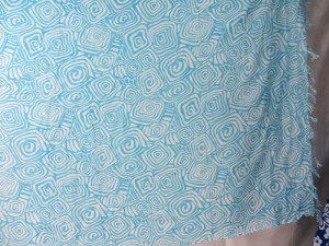 blue swirl on white sarong