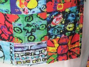 abstract print sarong green red blue tone