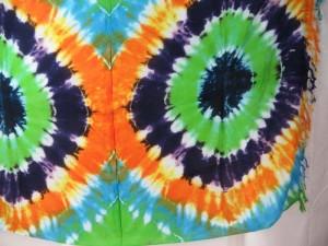 double circles blue orange purple green tie dye sarong