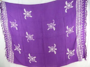 purple monocolor sarong with gecko, flower, turtel, fish, sun, dolphin, seashell, palm trees etc tropical designs assorted designs randomly picked by our warehouse staffs