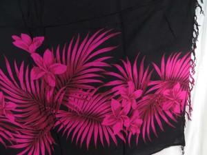fuchsia plumier flower leaf black sarong
