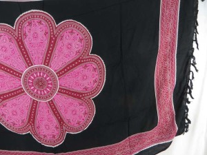 giant pink daisy on black sarong