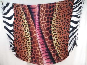 animal print sarong pink orange brown on centre