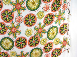 mandala flower sarong orange green yellow on white