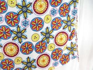 mandala flower sarong blue red yellow on white