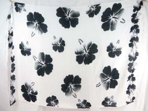 black hibiscus flower sarong white background