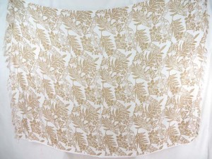 light camel color butterfly flower leaf on white sarong