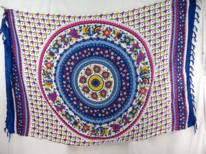flower mandala blue pink yellow on white sarong with blue edge
