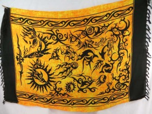 golden yellow mother of nature tribal tattoo art sarong