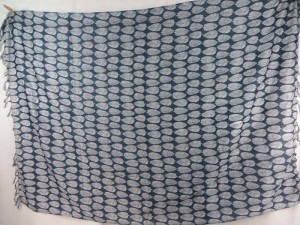 white leaf on dark blue sarong