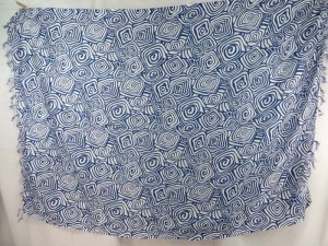 blue swirls on white sarong