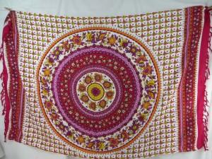 flower mandala circle sarong fuchsia pink yellow on white with fuchsia edge