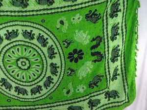 green lucky elephant mandala circle sarong