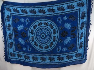 blue lucky elephant mandala circle sarong