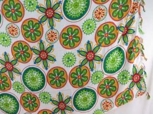 mandala circles sarong green orange on white