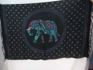 blue mosaic elephant in mandala circle black sarong