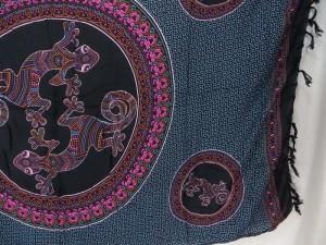 thousand dots gecko inside mandala circle black blue sarong tapestry wall hanging sarong