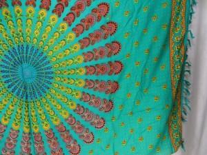 teal green peacock feather boho gypsy scarf wrap Bohemian mandala sarong