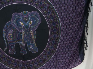 Thousand Dots Hippie Indian in mandala circle purple black Bedspread Wall Art