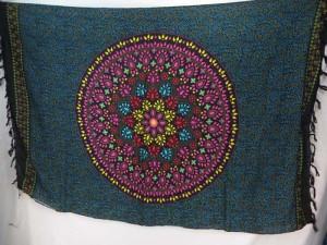 pink teal black Indian star mandala sarong