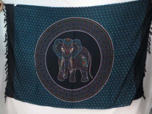 Thousand Dots Hippie Indian Elephant Mandala blue black Sarong Tapestries Wall Hanging