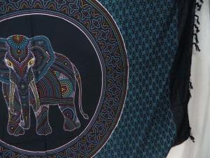 Thousand Dots Hippie Indian Elephant Mandala blue black Sarong Tapestries Wall Hanging