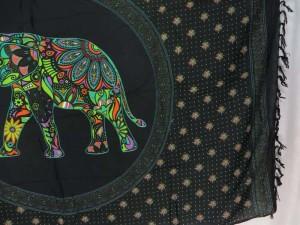 green mosaic elephant in mandala circle black sarong