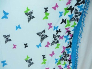 blue edge flying butterfly sarong