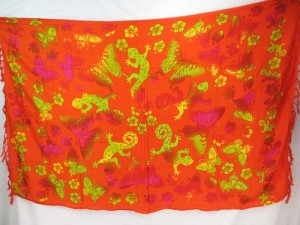 orange red gecko butterfly sarong