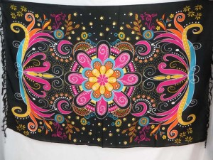 giant butterfly floral pattern sarongs pink black tone