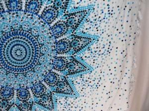 blue on white background Indian star mandala sarong