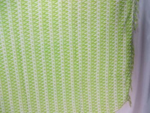 green zig zag on white sarong