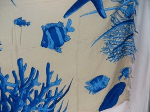 Hawaiian cover-up blue sealife fish beach sarong swimwear scarf