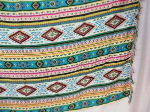 teal green geomatic design sarong