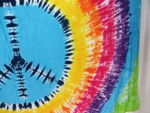 tie dye peace sign rainbow color sarong, no fringe assorted colors randomly picked by our warehouse staffs