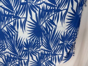 blue on white palm tree leaf sarong