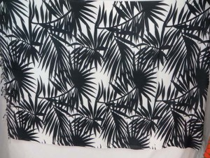 black on white palm tree leaf sarong