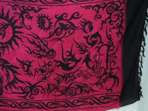 fuchsia world of nature tattoo primitive tribal art lava-lava sarong wrap
