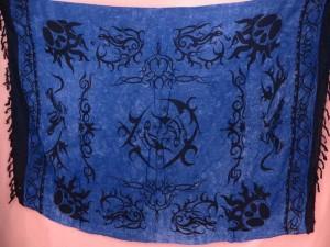 blue tribal tattoo primitive art summer apparel sarong