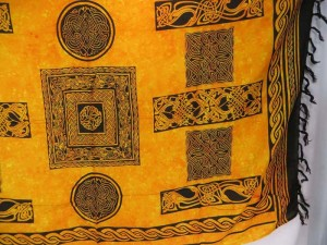 Yellow Celtic Knot Sarongs Altar Clothes
