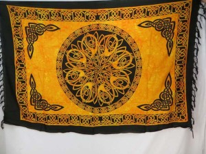 yellow mandala infinity circle Celtic interlace knot Sarongs Altar Clothes