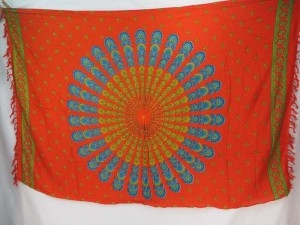 orange red peacock feather boho gypsy scarf wrap Bohemian mandala sarong