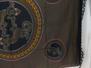 thousand dots gecko inside mandala circle brown black sarong boho gypsy wall hanging tapestry